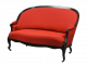Jugendstil Couch Art Nouveau rot mit ebonisiertem Holz-Rahmen und Rollen Z