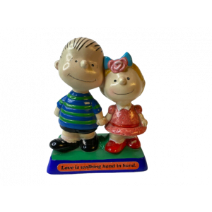 The Peanuts / Linus und Sally Holzobjekt / Love is walking hand in hand / 1970er