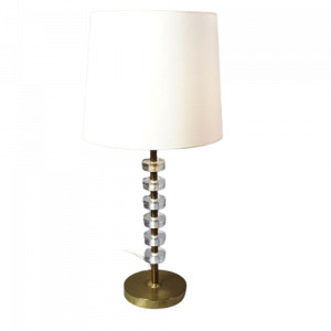 Tischleuchte Messing Mid Century Brass and Stacked Lucite Lamp 1.Z